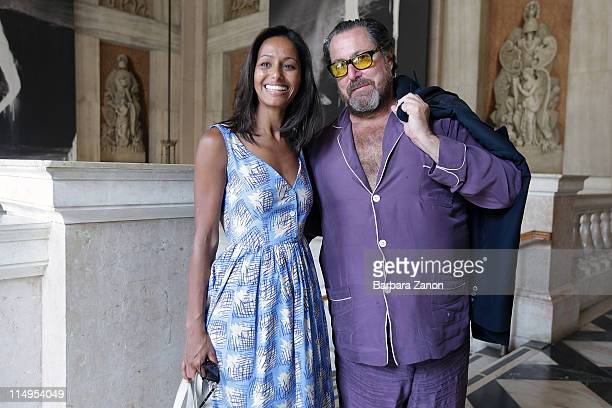 Julian Schnabel and Rula Jebreal attend the preview of 'Permanently Becoming And The Architecture of Seeing' at Correr Museum at on May 31 2011 in...