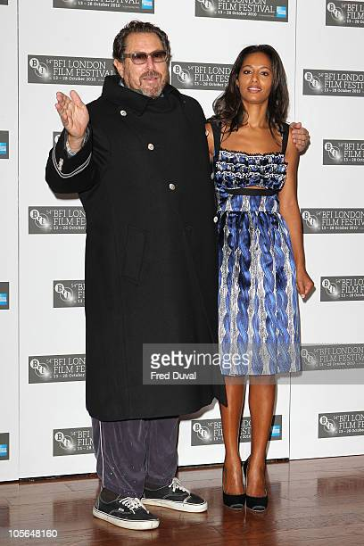 Julian Schnabel and Rula Jebreal promote the film 'Miral' at the 54th BFI London Film Festival at Vue West End on October 18 2010 in London England
