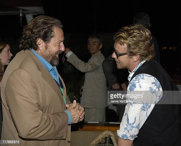 Julian Schnabel and Simon Baker during 2005 Cannes Fiilm Festival AnheuserBusch Hosts 'Land of the Dead' Party at AnheuserBusch Big Eagle Yacht in...