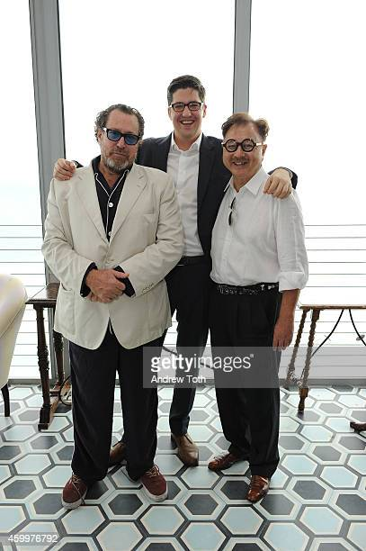 Julian Schnabel Spencer Bailey and Michael Chow attend Design Dialogue hosted by SURFACE magazine at OCHO at Soho Beach House on December 4 2014 in...