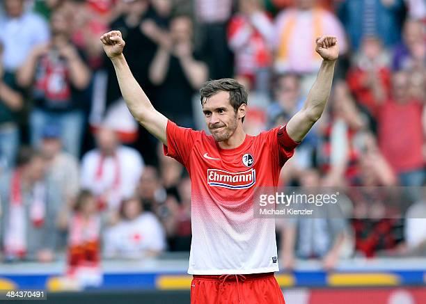 Julian Schuster of Freiburg celebrates after the Bundesliga match between SC Freiburg and Eintracht Braunschweig at Mage Solar Stadium on April 12...