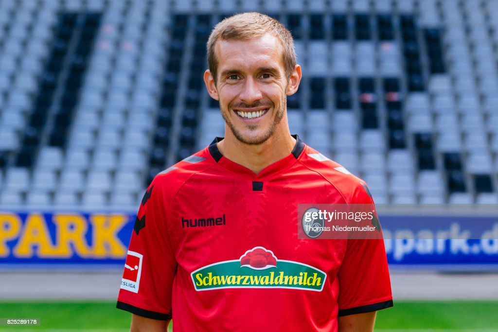 Julian Schuster of SC Freiburg poses during the team presentation at Schwarzwald-Stadion on August 1, 2017 in Freiburg im Breisgau, Germany.