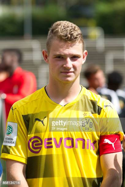 Julian Schwermann of Dortmund looks on during the EMKA RUHRCup International Final match between Borussia Dortmund U19 and Real Madrid U19 at Stadion...