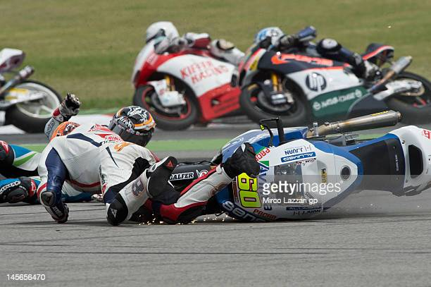 Julian Simon of Spain and Avintia Racing Moto2 crashed out during the Moto2 race of the MotoGp Of Catalunya at Circuit de Catalunya on June 3 2012 in...