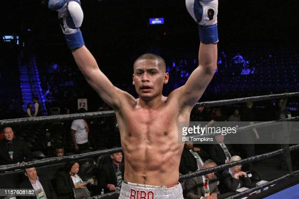Julian Sosa defeats Emmanuel Valadez by TKO in the 3rd round in their Welterweight fight at The Barclays Center. Sosa poses in victory here. April...