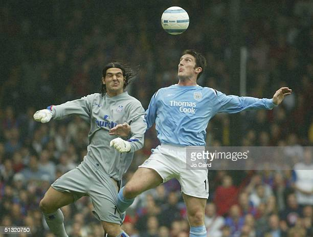 Julian Speroni and Jon Macken clash during the Barclays Premiership match between Crystal Palace and Manchester City at Selhurst Park on September 18...