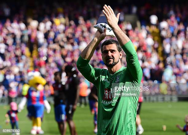 Julian Speroni of Crystal Palace applauds the fans after the Barclays Premier League match between Crystal Palace and Stoke City at Selhurst Park on...