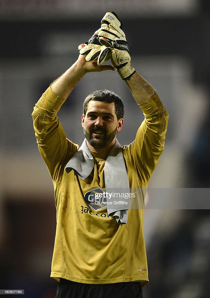 Julian Speroni of Crystal Palace applauds the travelling fans during the npower Championship match between Derby County and Crystal Palace at Pride Park Stadium on March 1, 2013 in Derby, England.