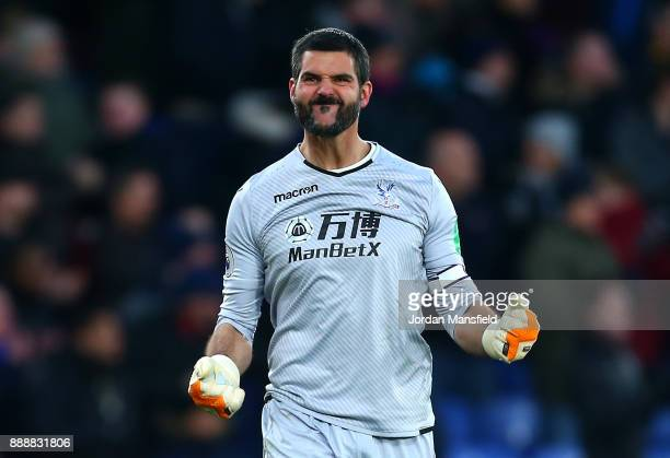 Julian Speroni of Crystal Palace celebrates during the Premier League match between Crystal Palace and AFC Bournemouth at Selhurst Park on December 9...
