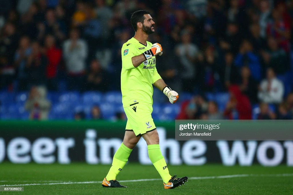 Julian Speroni of Crystal Palace celebrates his sides second goal during the Carabao Cup Second Round match between Crystal Palace and Ipswich Town at Selhurst Park on August 22, 2017 in London, England.