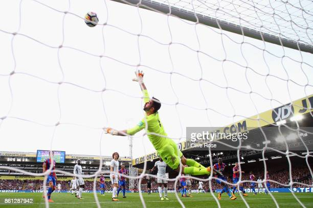 Julian Speroni of Crystal Palace dives to make a save during the Premier League match between Crystal Palace and Chelsea at Selhurst Park on October...