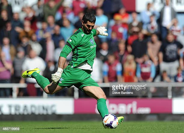 Julian Speroni of Crystal Palace in action during the Barclays Premier League match between West Ham United and Crystal Palace at Boleyn Ground on...