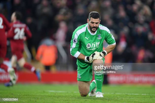 Julian Speroni of Crystal Palace looks dejected following Liverpool's second goal during the Premier League match between Liverpool FC and Crystal...