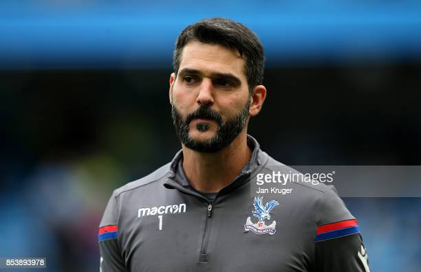 Julian Speroni of Crystal Palace looks on during the Premier League match between Manchester City and Crystal Palace at Etihad Stadium on September...