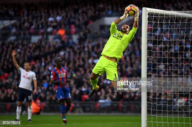 Julian Speroni of Crystal Palace makes a save during the Premier League match between Tottenham Hotspur and Crystal Palace at Wembley Stadium on...
