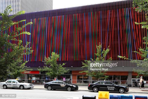 Julian Stanczak's 'Additional' sculpture consists of 522 aluminum bars painted in meticulously planned color combinations in Cincinnati Ohio on July...