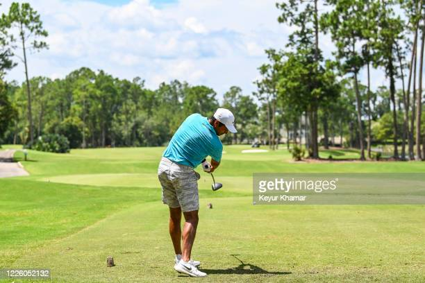 Julian Suri hits a tee shot on the 10th hole during the final round of an APGA Tour event on the Slammer Squire Course at World Golf Village on July...