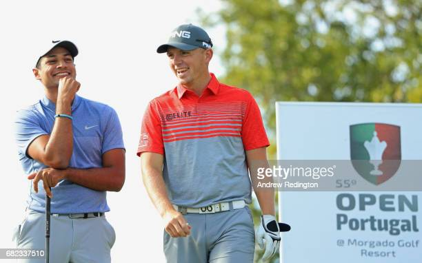 Julian Suri of the United States and Matt Wallace of England share a joke on the 13th tee during day two of the Open de Portugal at Morgado Golf...