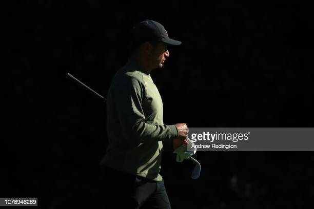 Julian Suri of The United States looks on during a practice round ahead of the BMW PGA Championship at Wentworth Golf Club on October 07, 2020 in...
