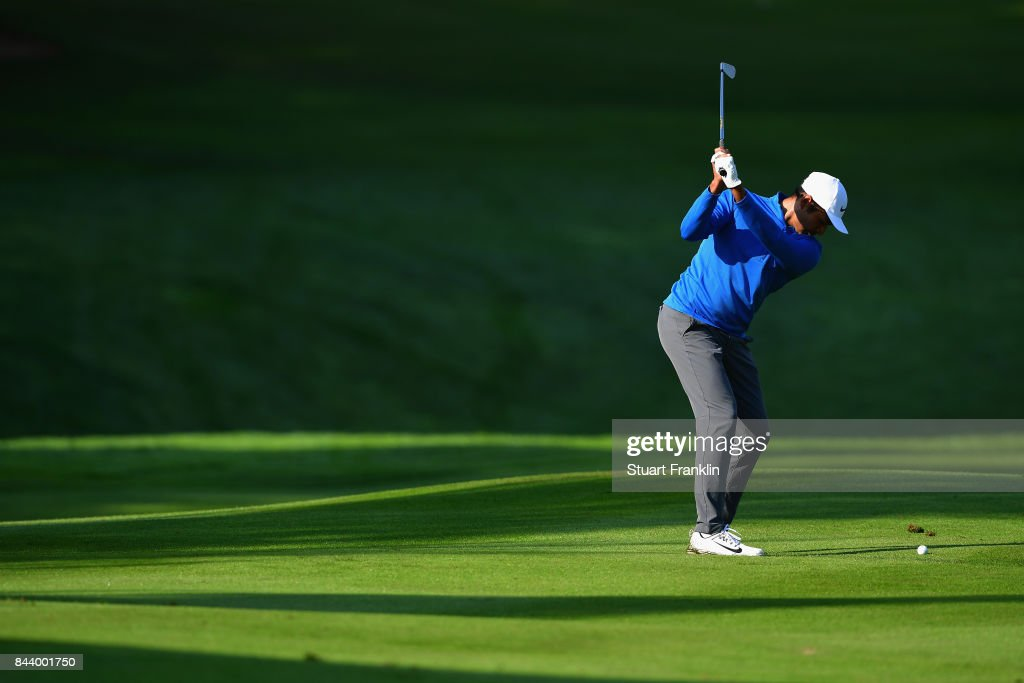 Julian Suri of The United States on the 14th during Day Two of the 2017 Omega European Masters at Crans-sur-Sierre Golf Club on September 8, 2017 in Crans-Montana, Switzerland.
