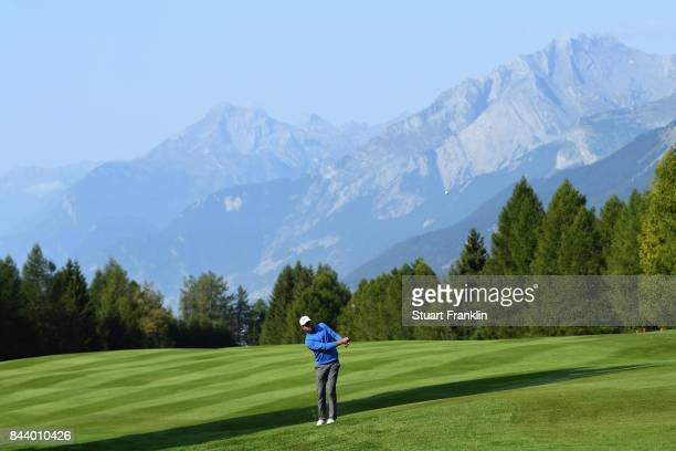 Julian Suri of The United States on the 15th during Day Two of the 2017 Omega European Masters at CranssurSierre Golf Club on September 8 2017 in...
