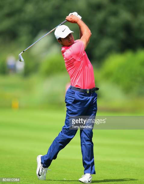 Julian Suri of the United States plays his second shot on the 9th fairway during the Porsche European Open Day Four at Green Eagle Golf Course on...