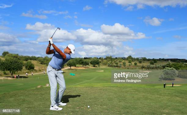 Julian Suri of the United States tees off on the 11th hole during day two of the Open de Portugal at Morgado Golf Resort on May 12 2017 in Portimao...