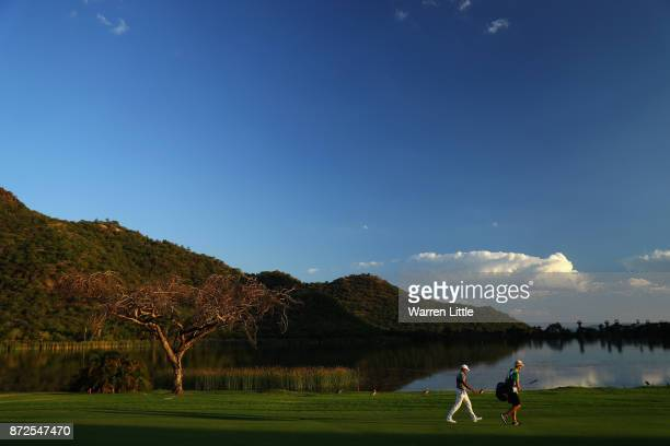 Julian Suri of the USA walks down the 17th hole during the second round of the Nedbank Golf Challenge at Gary Player CC on November 10 2017 in Sun...