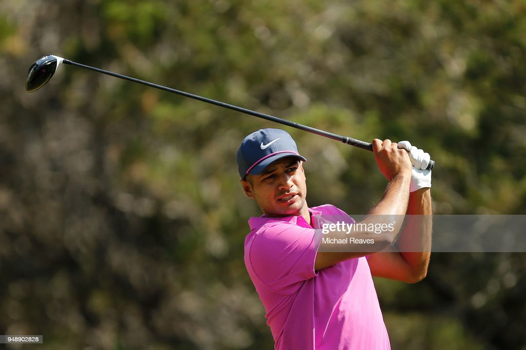 Julian Suri plays his shot from the fifth tee during the first round of the Valero Texas Open at TPC San Antonio AT&T Oaks Course on April 19, 2018 in San Antonio, Texas.