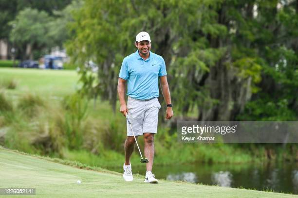 Julian Suri smiles on the 13th green during the final round of an APGA Tour event on the Slammer Squire Course at World Golf Village on July 10 2020...