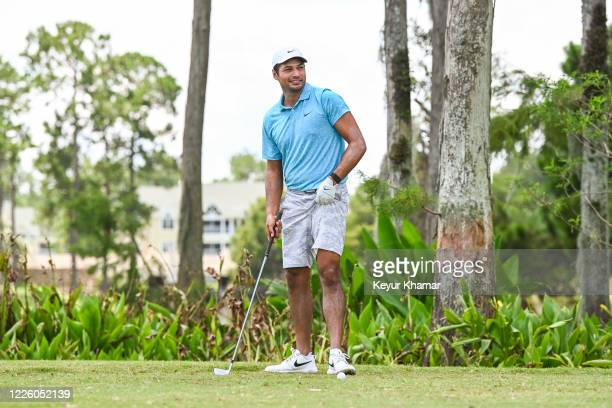 Julian Suri smiles on the 13th tee during the final round of an APGA Tour event on the Slammer Squire Course at World Golf Village on July 10 2020 in...