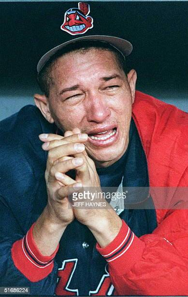 Julian Tavarez cries after the Cleveland Indians loss to the Atlanta Braves in game six of the World Series at Atlanta's Fulton County Stadium 28...