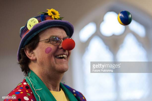 Julian the Juggler performs during the 71st annual service for clowns at All Saints Church in Haggerston on February 05 2017 in London England Each...