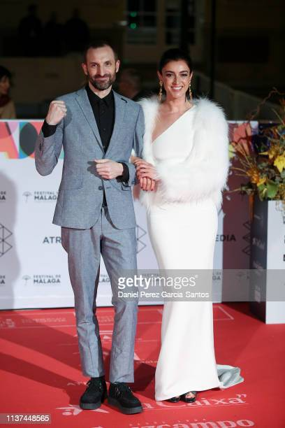 Julian Villagran and Blanca Romero attend '¿Que Te Juegas premiere at the Cervantes Theater during the 22nd Malaga Film Festival on March 21 2019 in...