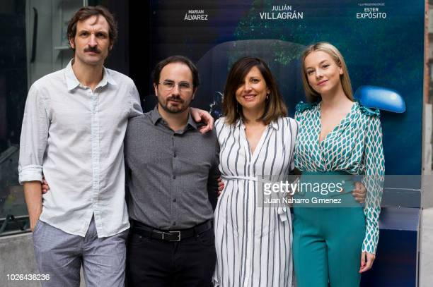 Julian Villagran Gonzalo Bendala Marian Alvarez and Ester Exposito attends 'Cuando Los Angeles Duermen' photocall at Ocho Y Medio bookstore on...