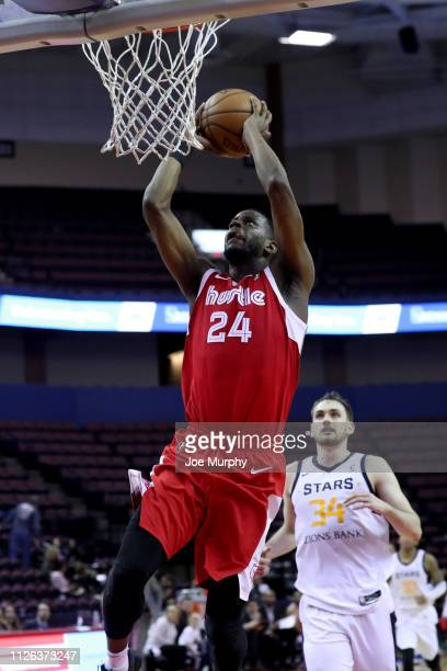 Julian Washburn of the Memphis Hustle goes up for a dunk against the Salt Lake City Stars during an NBA GLeague game on February 20 2019 at Landers...