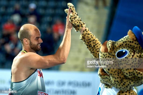 Julian Weber from Germany celebrates victory in mens javelin final while European Athletics Team Championships Super League Bydgoszcz 2019 - Day One...