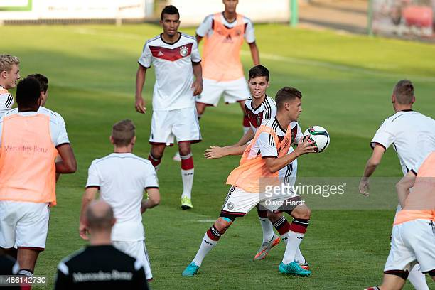 Julian Weigl in action looks on during the Germany U21 training session of Germany U21 on August 31 2015 in Norderstedt Germany
