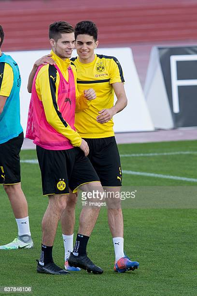Julian Weigl of Borussia Dortmund and Marc Bartra of Borussia Dortmund during the second day of the training camp at Estadio Municipal de Marbella on...