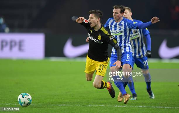 Julian Weigl of Borussia Dortmund and Vladimir Darida of Hertha BSC during the game between Hertha BSC and Borussia Dortmund on january 19 2018 in...