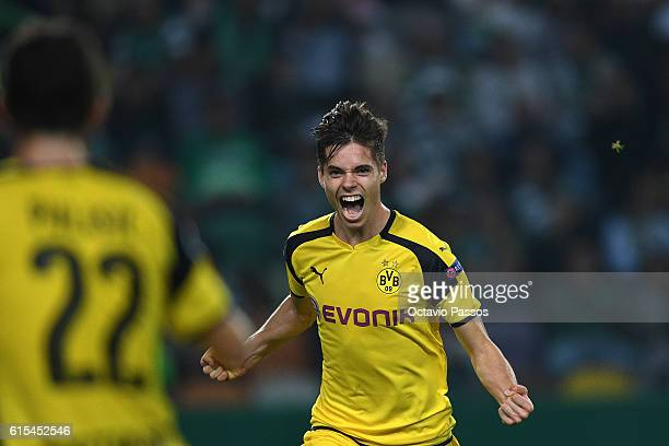 Julian Weigl of Borussia Dortmund celebrates after scores a goal against SC Sporting during the UEFA Champions League match between SC Sporting and...