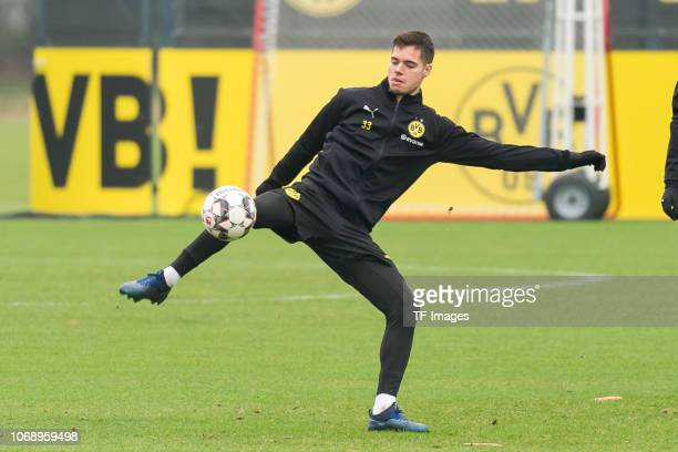 Julian Weigl of Borussia Dortmund controls the ball during a training session at BVB training center on December 6 2018 in Dortmund Germany