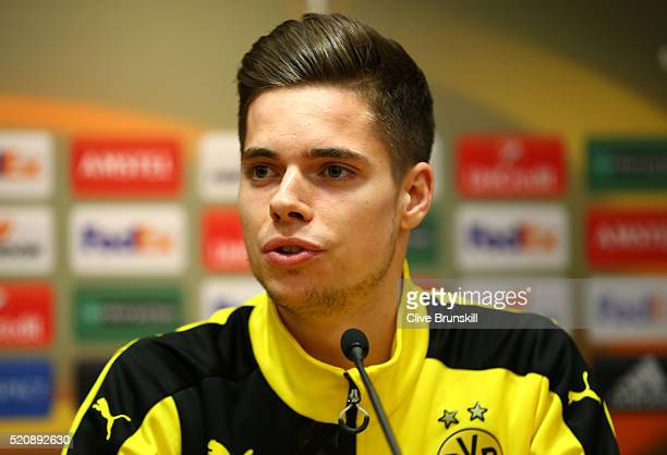 Julian Weigl of Borussia Dortmund faces the media during a press conference ahead of the UEFA Europa League quarter final between Liverpool and...