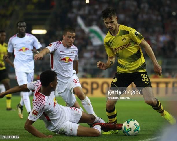 Julian Weigl of Borussia Dortmund in action against Bernardo of Rasenballsport Leipzig during the Bundesliga soccer match between Borussia Dortmund...