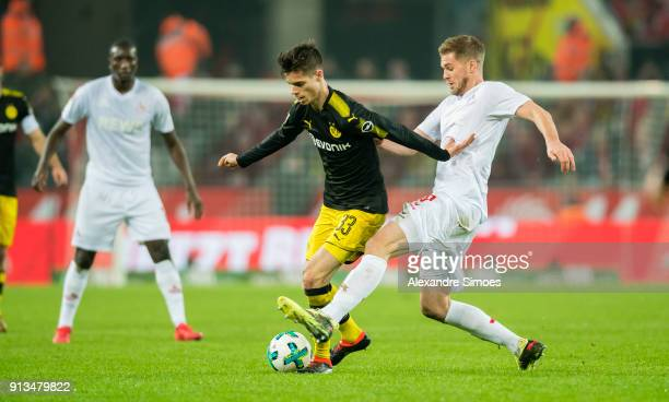 Julian Weigl of Borussia Dortmund in action during the Bundesliga match between 1 FC Koeln and Borussia Dortmund at the RheinEnergieStadion on...