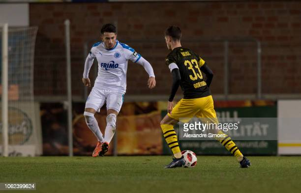 Julian Weigl of Borussia Dortmund in action during the friendly match against SF Lotte at the Frimo Stadion on November 16 2018 in Lotte Germany