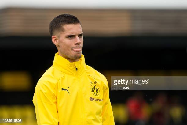 Julian Weigl of Borussia Dortmund looks on during the Borussia Dortmund training session on September 10 2018 in Dortmund Germany