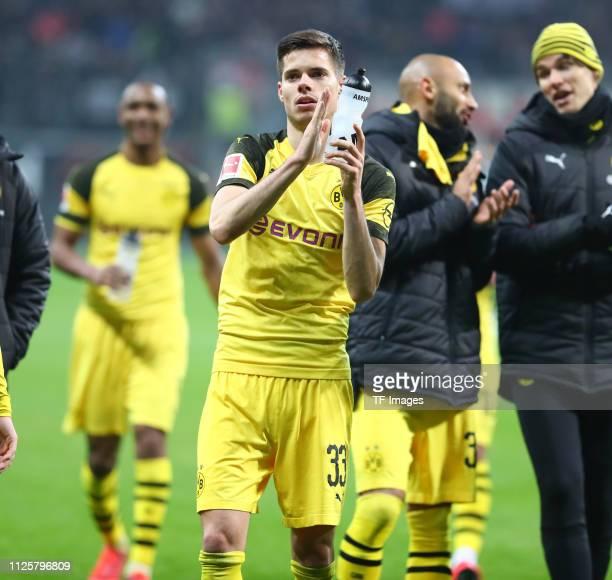 Julian Weigl of Borussia Dortmund looks on during the Bundesliga match between Eintracht Frankfurt and Borussia Dortmund at CommerzbankArena on...