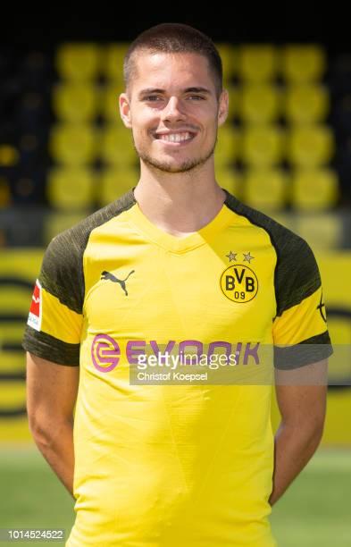 Julian Weigl of Borussia Dortmund looks on during the team presentation at Training Ground Brackel on August 10 2018 in Dortmund Germany