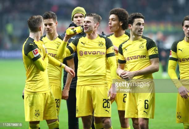 Julian Weigl of Borussia Dortmund Marco Reus of Borussia Dortmund Axel Witsel of Borussia Dortmund Lukasz Piszczek of Borussia Dortmund and Thomas...